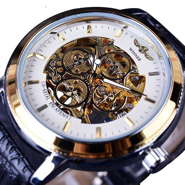 Costbuys  Transparent Case Back Black Golden Skeleton Mens Watches Top Brand Luxury Mechanical Watch Men Wristwatch - White Gold