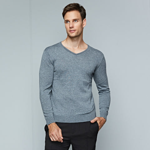 Men's Sweaters Spring Autumn New Men Solid Color Long Sleeved Sweater Male Slim V-neck Business Casual Sweater