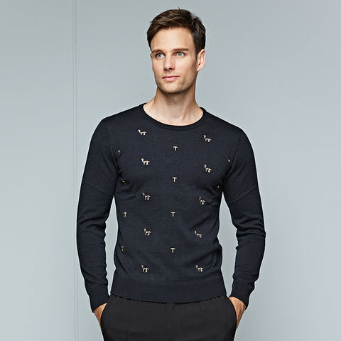Men's Sweaters Brand Black Knitwear Sweater Male Casual O Collar Letter and Animal Pattern Printing Slim Fit Pullover