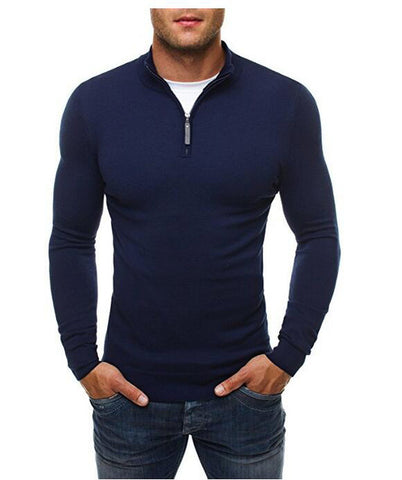 Sweater Pullover Men Brand Casual Slim Sweaters Classic Zipper High Collar Simple Solid Color Men Polo Sweater