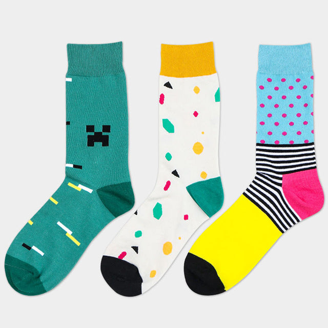 Costbuys  5 Pair Socks Style Men Cotton Sock The Tube Color Striped Dot Spell Popular Male Socks - D free color