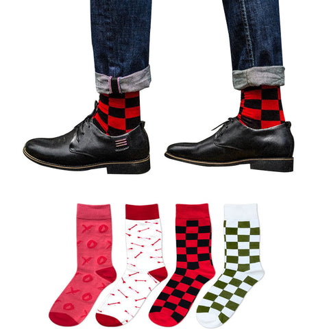 1pair Hot Sale New Fashion Brand Quality Business Men's Socks Rhombus Printing Autumn Winter Casual Sock For Men 3D Sock