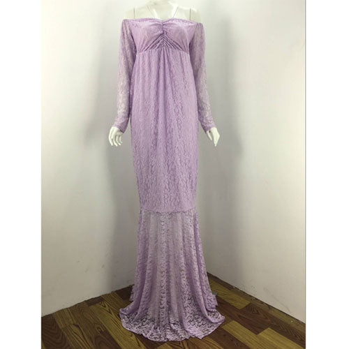 Costbuys  Lace Maternity Dresses Gown Wedding Party Dresses Pregnant Women A Word Collar Long Lace Dresses Maternity - Lavender