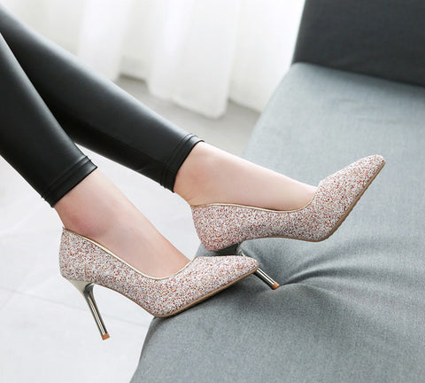 Women Pumps High Heels Ladies Party Shoes Bling Glitter Pointed Toe Thin Heel Gold Wedding Shoes Bridal Big Size 33-43