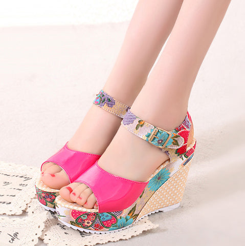 Women Sandals Summer Platform Wedges Casual Shoes Woman Floral Super High Heels Open Toe Slippers Sandalias Zapatos Mujer