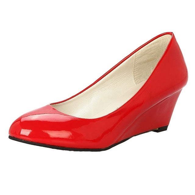 Costbuys  Classic Sexy Office Lady Round Toe Platform Low Heels Women Wedding Pumps Shoes Suede - Red / 5