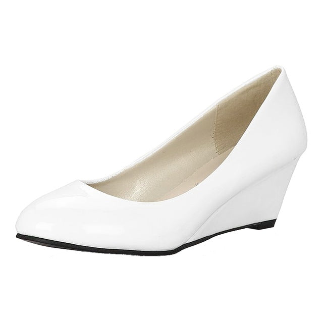 Costbuys  Classic Sexy Office Lady Round Toe Platform Low Heels Women Wedding Pumps Shoes Suede - White / 4