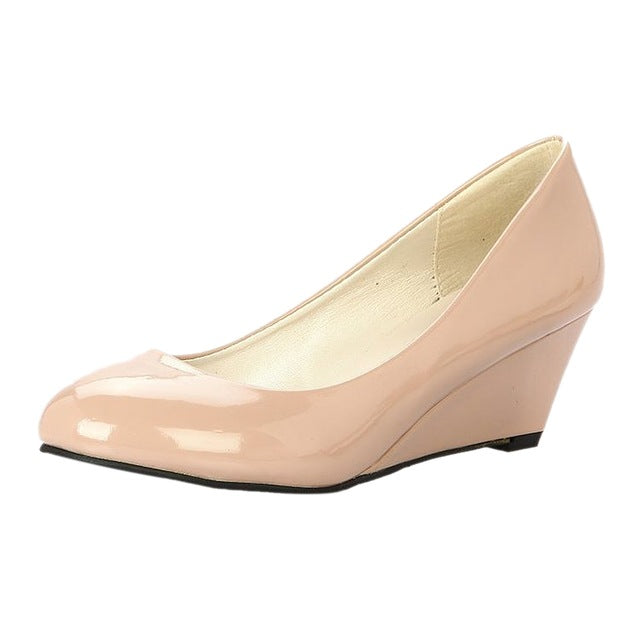 Costbuys  Classic Sexy Office Lady Round Toe Platform Low Heels Women Wedding Pumps Shoes Suede - Beige / 7