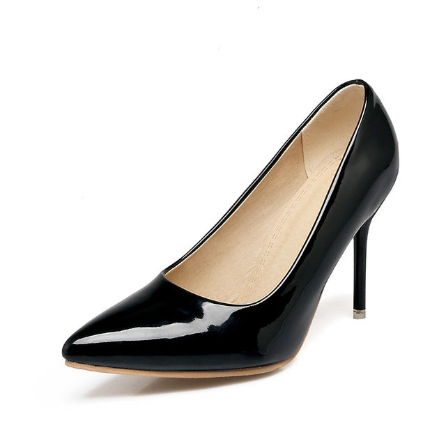 Costbuys  Women pumps pointed toe ladies shoes shallow elegant ladies shoes thin heel super high heels shoes - Black / 10