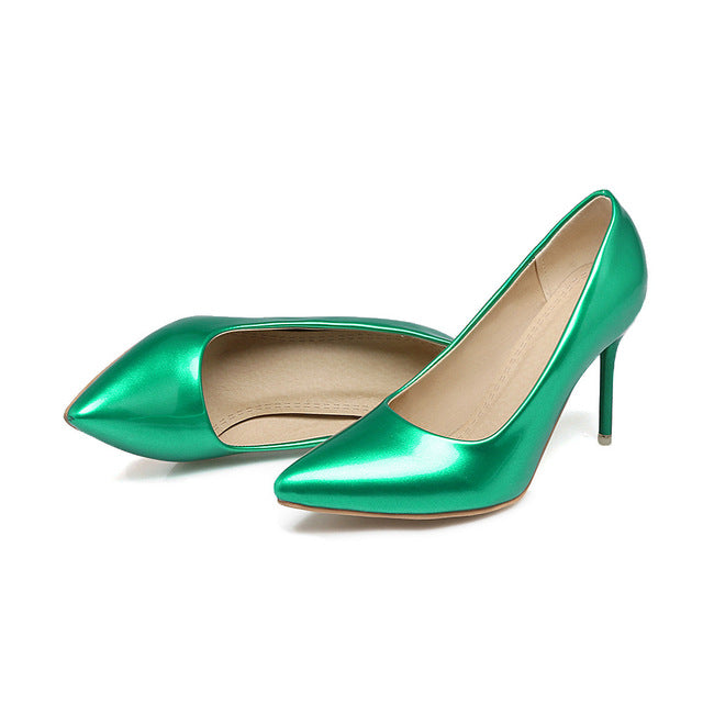 Costbuys  Women pumps pointed toe ladies shoes shallow elegant ladies shoes thin heel super high heels shoes - green / 10