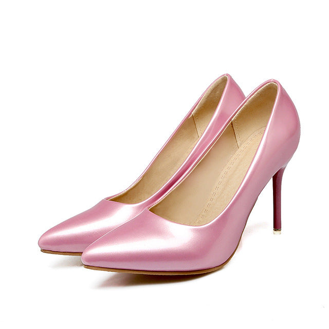 Costbuys  Women pumps pointed toe ladies shoes shallow elegant ladies shoes thin heel super high heels shoes - Pink / 10