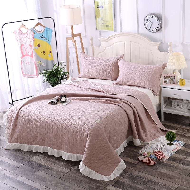 Costbuys  3PCS bedspread/coverlet/bed cover sets(1pcs 200x230cm quilted bedspread+2pcs pillowcase) Wash cotton shell