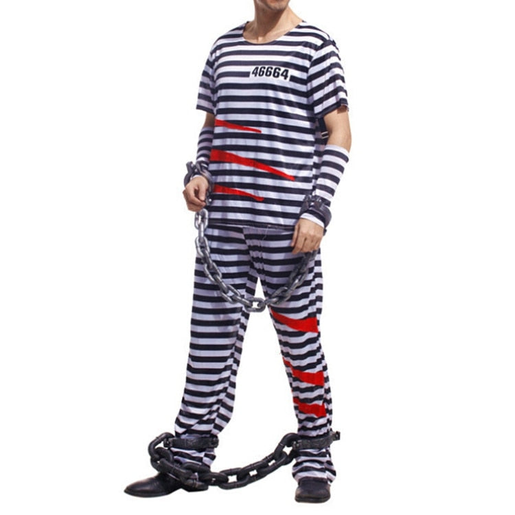 Costbuys  Newest Prisoner cosplay Costume Jail Man Convict Adult Halloween  Costumes Cosplay