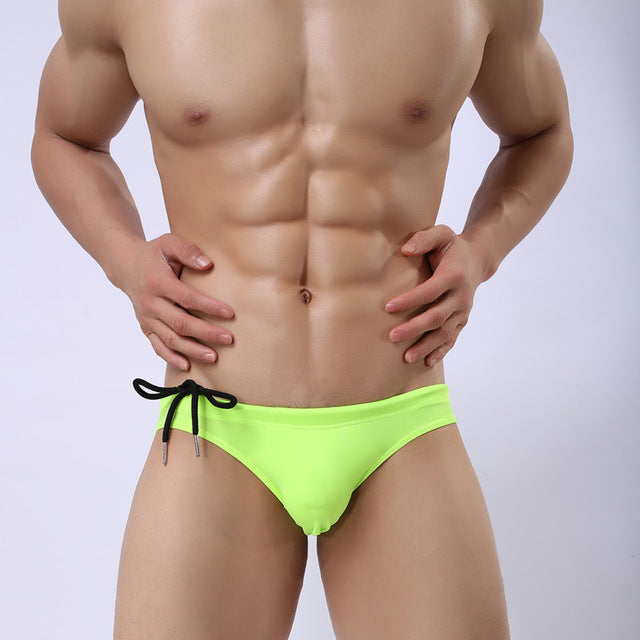 Costbuys  Low Rise Swimwear Men Swim Briefs Sexy Bulge Pouch Swimming Swimsuits for Man Beach Pool Bathing Suit - apple green /