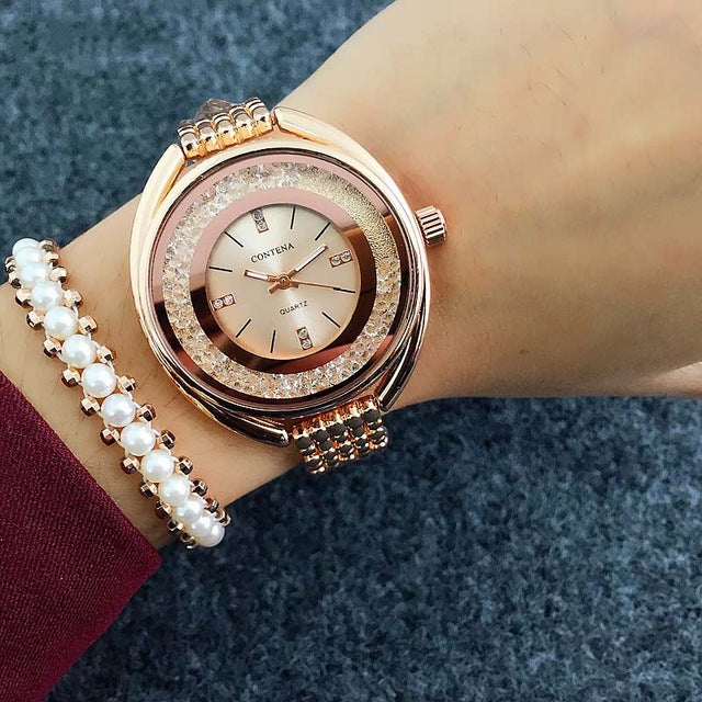 Costbuys  Women Watches Rose Gold Bracelet Watch Rhinestone Ladies Watch - rose gold