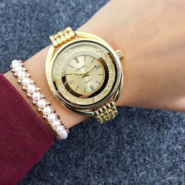 Costbuys  Women Watches Rose Gold Bracelet Watch Rhinestone Ladies Watch - Gold