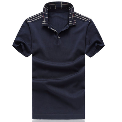 Costbuys  Men's Polo Classic Style Stripe Fashion Polo High Quality Short Sleeve Casual Tee Tops - Navy Blue / 4XL