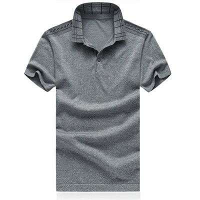 Costbuys  Men's Polo Classic Style Stripe Fashion Polo High Quality Short Sleeve Casual Tee Tops - Gray / 4XL