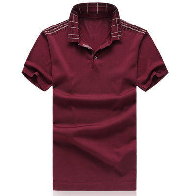 Costbuys  Men's Polo Classic Style Stripe Fashion Polo High Quality Short Sleeve Casual Tee Tops - Red / 4XL
