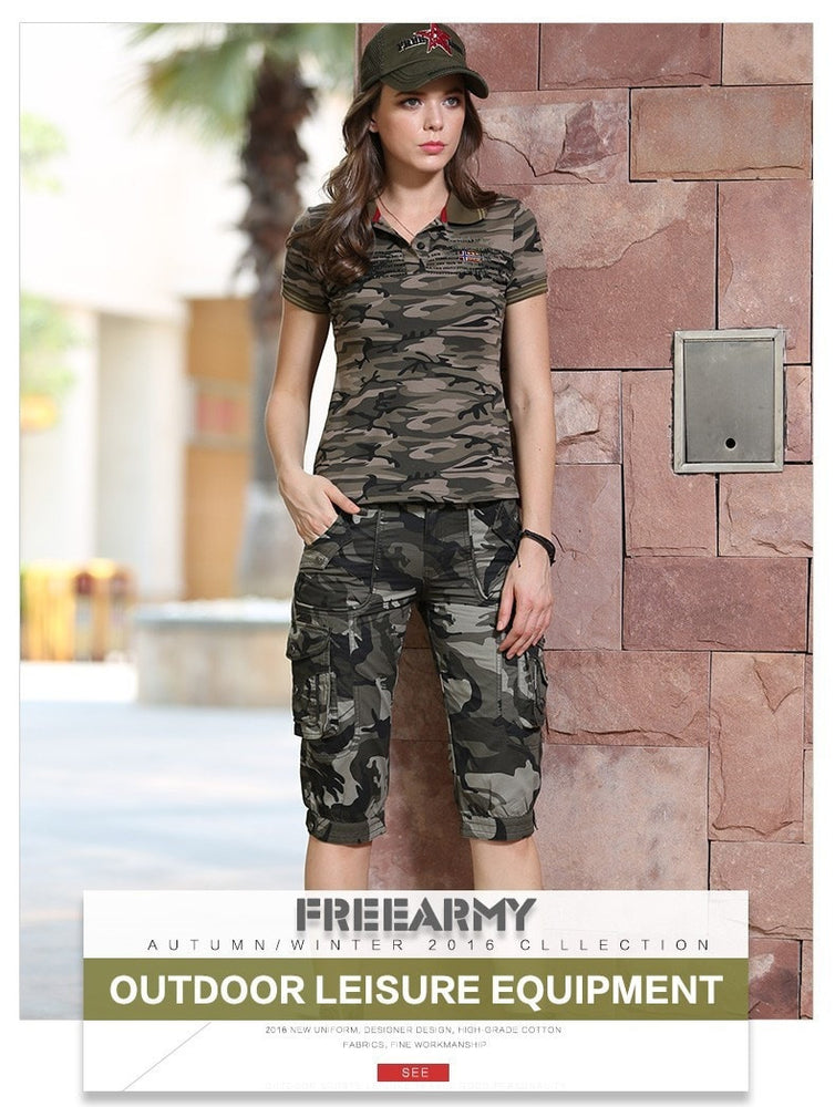 High Quality Fashion Camo Shorts Models Feminino Pantalones Cortos Mujer Summer Women Camouflage Knee-Length Shorts
