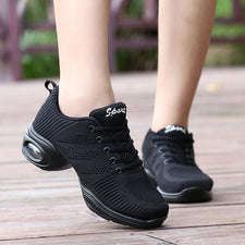 Modern Dance Shoe Rubber Mid Heel Dancing Sneakers for Women Air Cushion Lady Sneaker White/Black Jazzing Boots