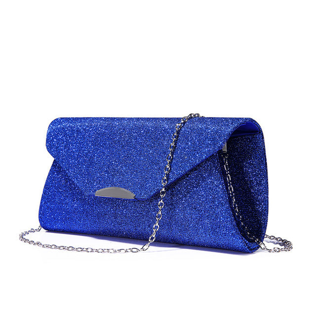 Costbuys  Women evening clutches bag crossbody bag ladies envelope purse for party with chains handbags - Blue / United States /