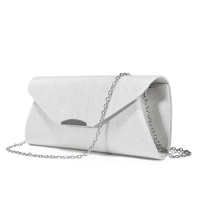 Costbuys  Women evening clutches bag crossbody bag ladies envelope purse for party with chains handbags - Silver / United States