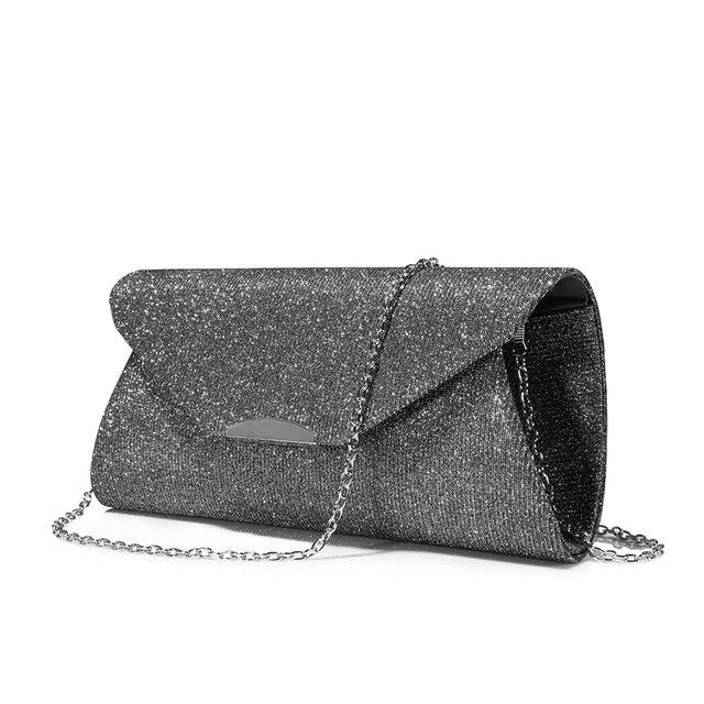 Costbuys  Women evening clutches bag crossbody bag ladies envelope purse for party with chains handbags - Gray / United States /