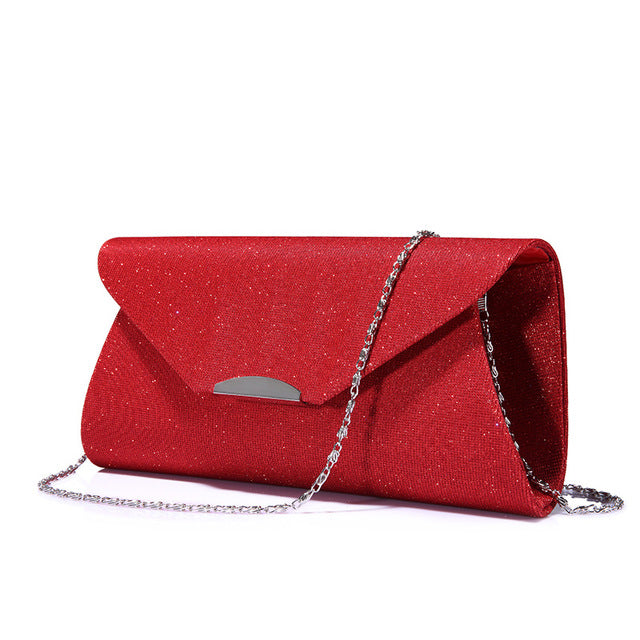 Costbuys  Women evening clutches bag crossbody bag ladies envelope purse for party with chains handbags - Red / United States /
