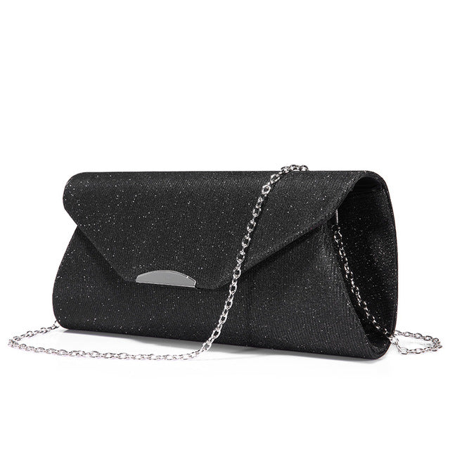 Costbuys  Women evening clutches bag female bag ladies envelope purse for party with chains handbags ladies - Black / United Sta
