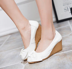 Women Wedge Shoes Genuine Leather Round toe High Heels Pumps Woman Mom Shoes