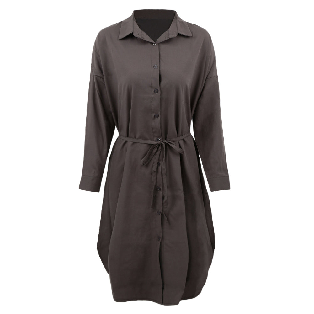 Costbuys  Women Midi Shirt Dress Turn Down Collar Long Sleeve Dress Button Placket Side Slits Casual Office Dress - Gray / L