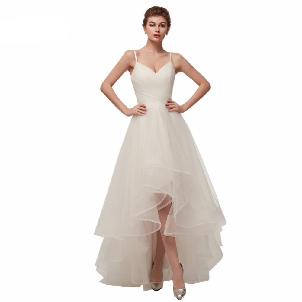 High Low Wedding Dresses Spaghetti Straps Simple V Neck Tulle Short ...