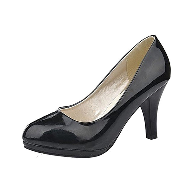 Costbuys  Classic Sexy Office Lady Round Toe Platform Low Heels Women Wedding Pumps Shoes - Black / 3.5
