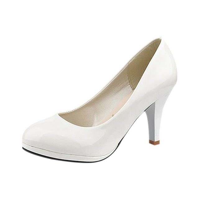 Costbuys  Classic Sexy Office Lady Round Toe Platform Low Heels Women Wedding Pumps Shoes - White / 6