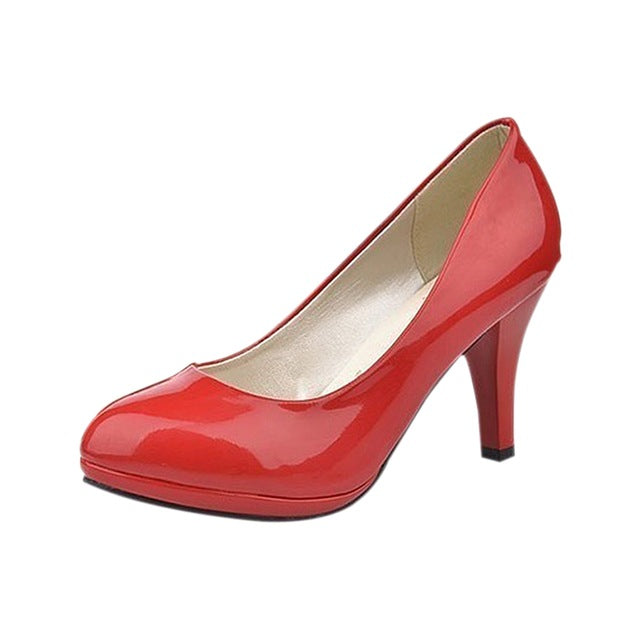 Costbuys  Classic Sexy Office Lady Round Toe Platform Low Heels Women Wedding Pumps Shoes - Red / 3.5