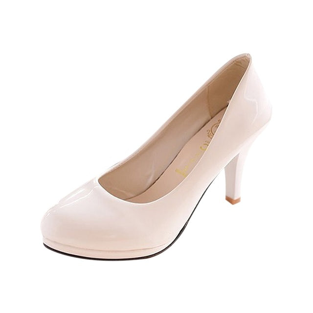 Costbuys  Classic Sexy Office Lady Round Toe Platform Low Heels Women Wedding Pumps Shoes - Beige / 11
