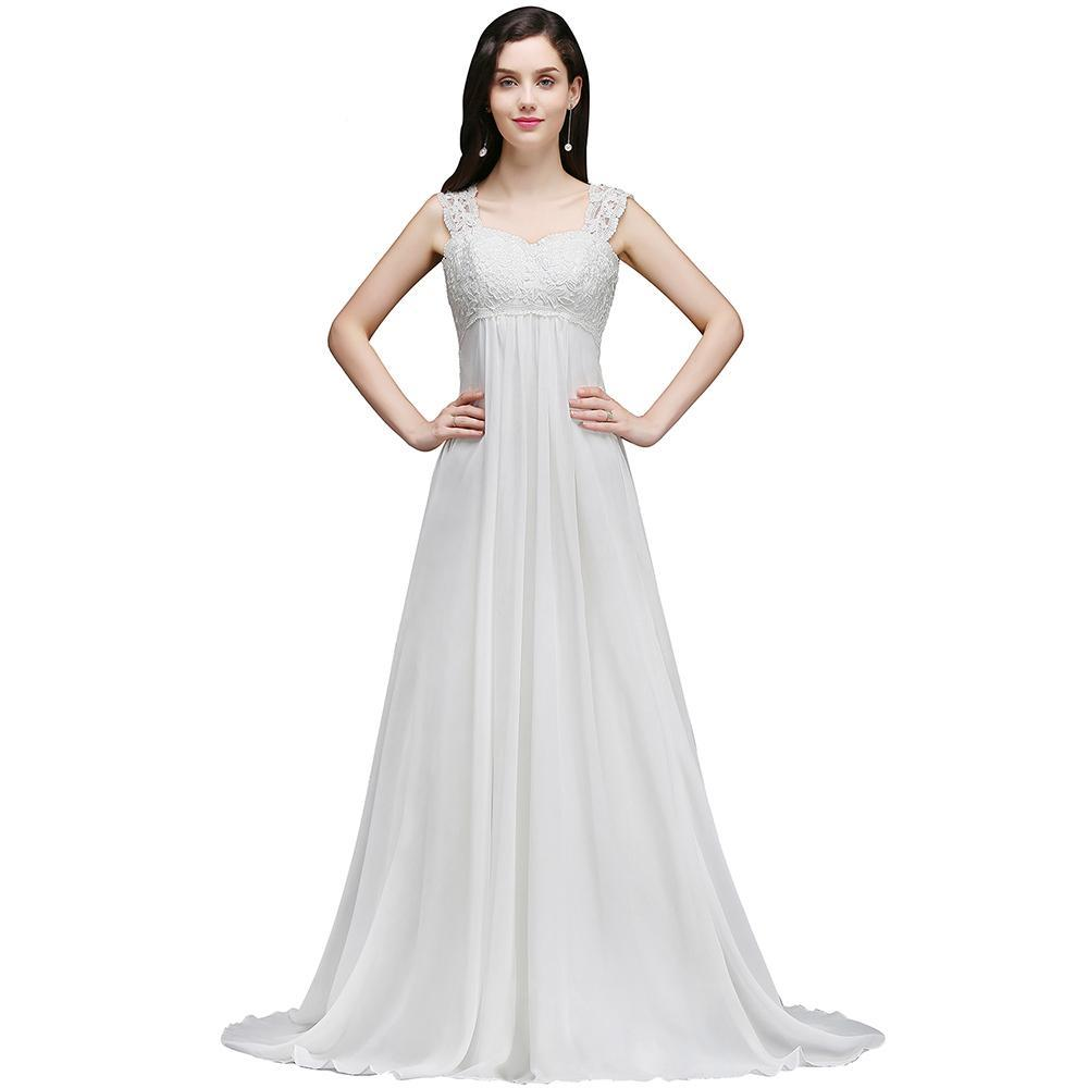 Chiffon Beach Wedding Dresses Sleeveless Empire Lace-up
