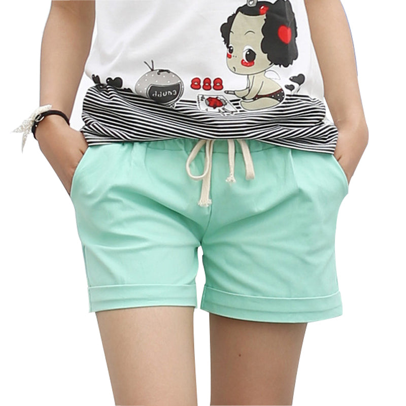 Summer Style Shorts Women Candy Color Elastic With Belt Short Women Home casual Cotton shorts