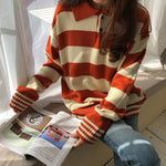 Hit Color Stripe Sweaters Women Spring Casual Turn-down Collar Knitted Sweater Female Loose Jumper