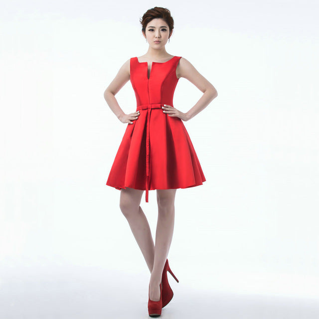 Backless Bow Lace Up Dinner Dress Cocktail Dresses Knee Length