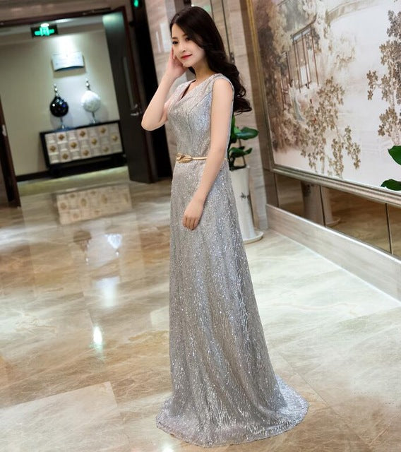 Evening Dress Double Shoulder V Neck Formal Lace Up Long Gala Party