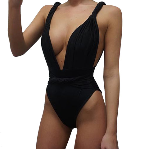 One Piece Swimsuit Brazilian Bikini Set Sexy High Waist Beachwear Plus Size Swimwear Women Black Bathing Suit XXXXL
