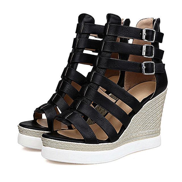 Costbuys  Gladiator Shoes Women Shoes Platform Wedges High Heel Sandals Ladies Wedge Heels Zip Black White - Black / 10