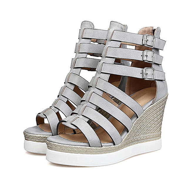 Costbuys  Gladiator Shoes Women Shoes Platform Wedges High Heel Sandals Ladies Wedge Heels Zip Black White - Gray / 10