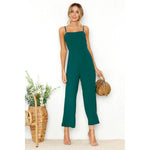 Casual Jumpsuit Women Spaghetti Strap Overalls Sleeveless Elegant Straight Jumpsuits Long Pants