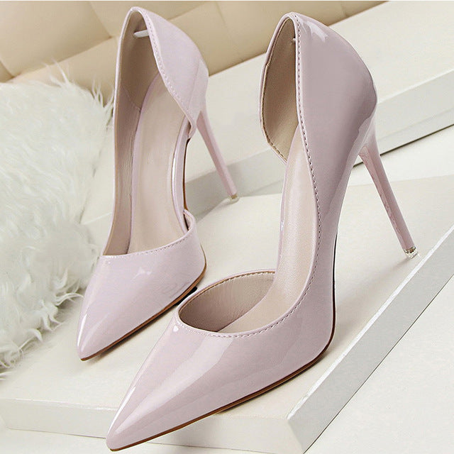 Costbuys  Women Pumps Spring Autumn High Heels Women Shoes Pointed Toe Shallow Wedding Party Heels Pumps Shoes - Gray / 4.5