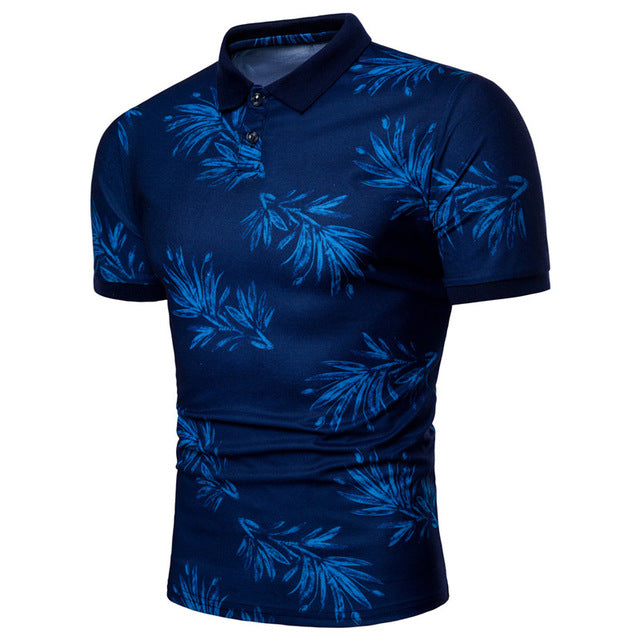 Costbuys  Red Blue Leaves Printing Polo Tops Short Sleeves Polo Casual Polo Shirt - Blue / L