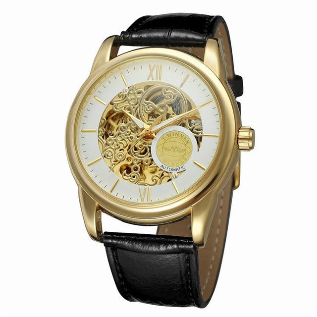 Classic design roman number display transparent case mechanical skelet costbuys for Classic skeleton watch