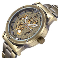 Automatic Bronze Watch Men Clock Male stainless steel Strap Antique Steampunk Skeleton Mechanical Wristwatch